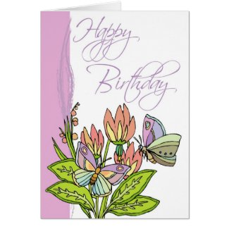 Wild Flowers and butterflies zazzle_card