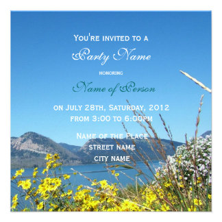 wild flowers and lake all party invitation custom announcements
