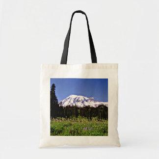 Wild flowers and snowy peak, Mt. Rainer, Washingto Tote Bag