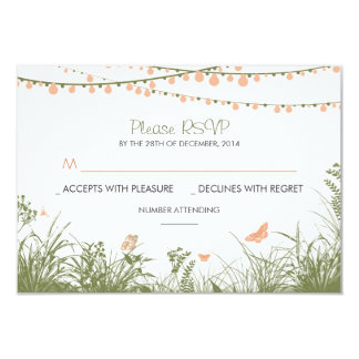 """wild flowers and string lights wedding RSVP cards 3.5"""" X 5"""" Invitation Card"""