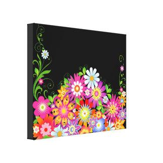 Wild Flowers Art Deco Canvas Print