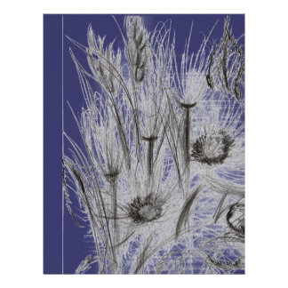 Wild Flowers Deep Blue Letterhead