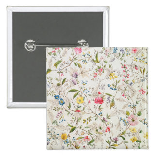 Wild flowers design for silk material, c.1790 (w/c 2 inch square button