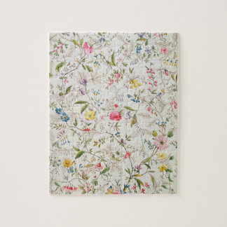 Wild flowers design for silk material, c.1790 (w/c jigsaw puzzles