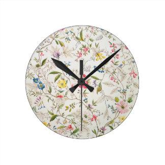 Wild flowers design for silk material, c.1790 (w/c round clock