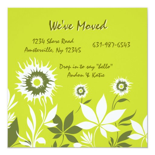 Wild Flowers Green Moving Announcement