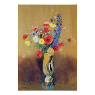 Wild flowers in a Long-necked Vase, c.1912 Poster