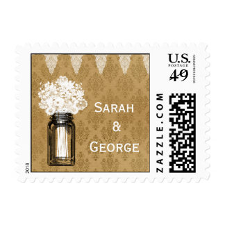 wild flowers in mason jar, burlap wedding stamps