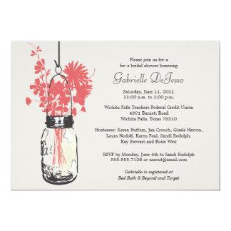 Wild flowers & Mason Jar Bridal Shower 5x7 Paper Invitation Card