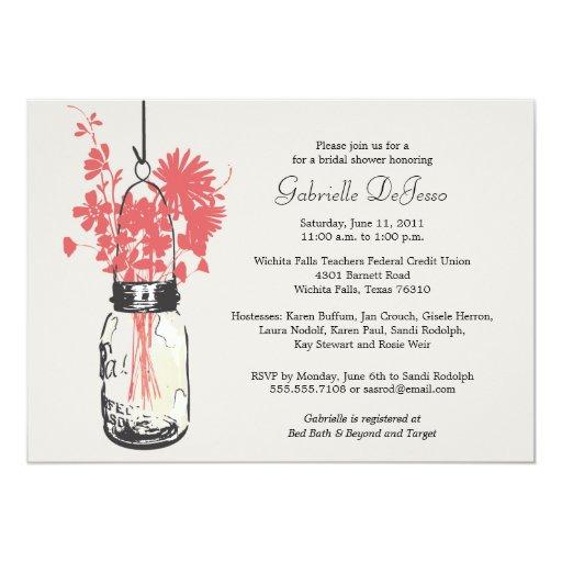 "Wild flowers & Mason Jar Bridal Shower 5"" X 7"" Invitation Card"