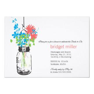 Wild flowers & Mason Jar Bridal Shower Custom Invitations