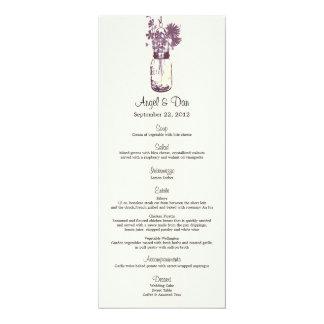 "Wild flowers & Mason Jar Menu Card 4"" X 9.25"" Invitation Card"