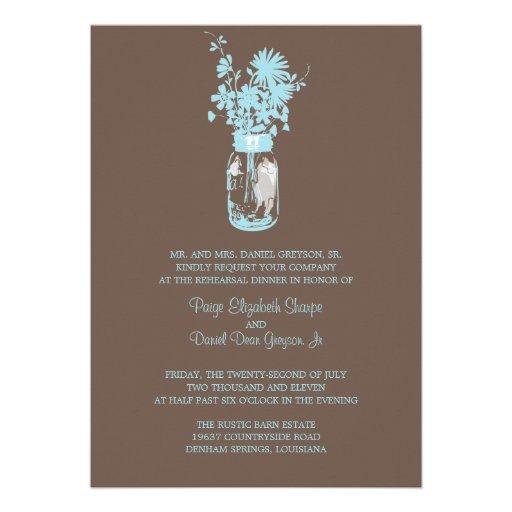 Wild flowers & Mason Jar Rehearsal Dinner Custom Invites