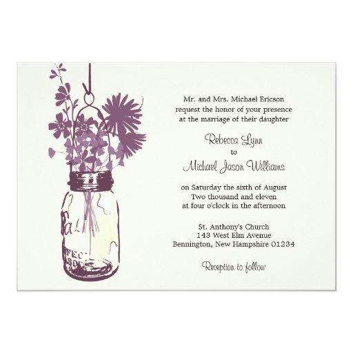 "Wild flowers & Mason Jar Wedding Invitations 5"" X 7"" Invitation Card"