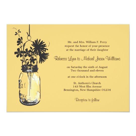 Wild Flowers For Weddings: Wild Flowers & Mason Jar Wedding Invitations