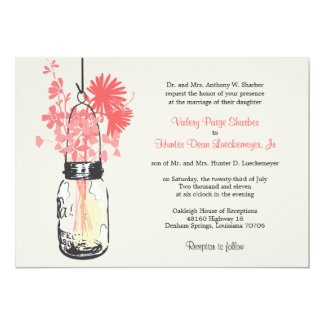Wild flowers & Mason Jar Wedding Invitations