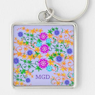 Wild flowers monogram premium keychain