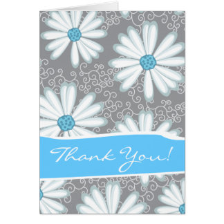 Wild Flowers Print Turquoise Silver Floral Pattern Greeting Card