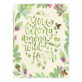wild flowers quote botanical fairies postcard