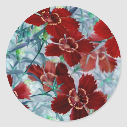 wild flowers round stickers