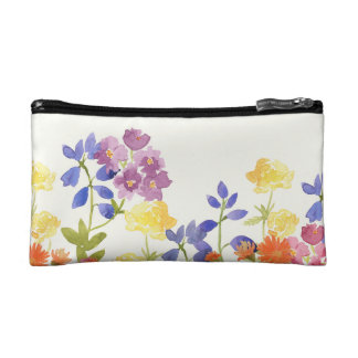 Wild Flowers Watercolour Painting Cosmetics Bag