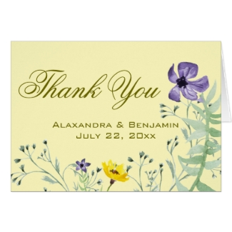 Wild Flowers Wedding Thank You Note