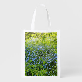 Wild forget me nots flowers photo reusable grocery bag