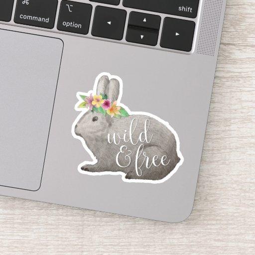 Wild & Free | Cute Rabbit Flower Crown Quote Sticker