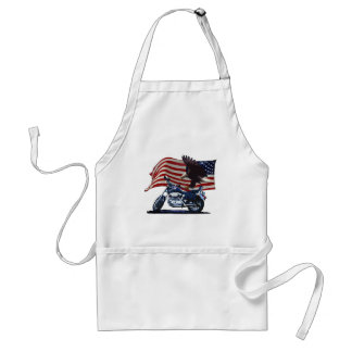 Wild & Free - Patriotic Eagle, Motorbike & US Flag Adult Apron