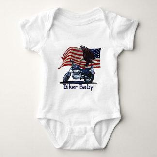 Wild & Free - Patriotic Eagle, Motorbike & US Flag Baby Bodysuit