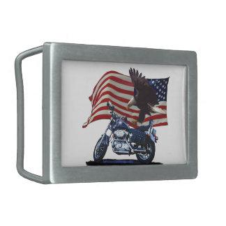 Wild & Free - Patriotic Eagle, Motorbike & US Flag Belt Buckle