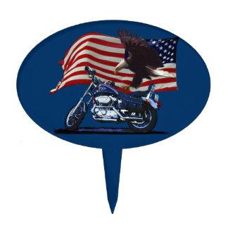 Wild & Free - Patriotic Eagle, Motorbike & US Flag Cake Topper
