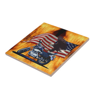 Wild & Free - Patriotic Eagle, Motorbike & US Flag Ceramic Tile