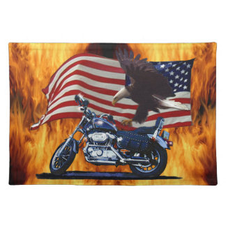 Wild & Free - Patriotic Eagle, Motorbike & US Flag Cloth Placemat