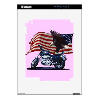 Wild & Free - Patriotic Eagle, Motorbike & US Flag Decal For iPad 2