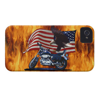 Wild & Free - Patriotic Eagle, Motorbike & US Flag iPhone 4 Cover