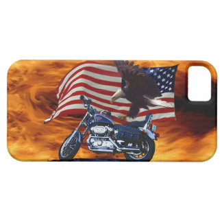 Wild & Free - Patriotic Eagle, Motorbike & US Flag iPhone SE/5/5s Case