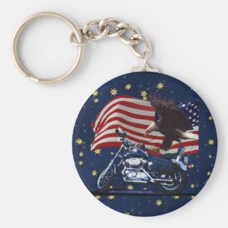 Wild & Free - Patriotic Eagle, Motorbike & US Flag Keychain