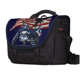 Wild & Free - Patriotic Eagle, Motorbike & US Flag Laptop Bag