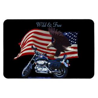 Wild & Free - Patriotic Eagle, Motorbike & US Flag Magnet