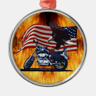 Wild & Free - Patriotic Eagle, Motorbike & US Flag Metal Ornament