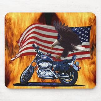 Wild & Free - Patriotic Eagle, Motorbike & US Flag Mouse Pad