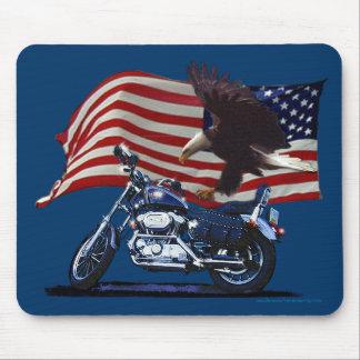Wild & Free - Patriotic Eagle, Motorbike & US Flag Mouse Pads