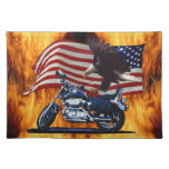 Wild & Free - Patriotic Eagle, Motorbike & US Flag Placemats