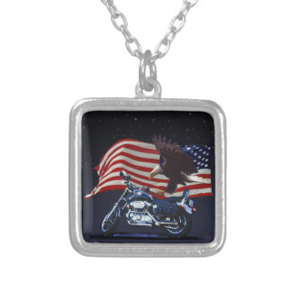 Wild & Free - Patriotic Eagle, Motorbike & US Flag Silver Plated Necklace