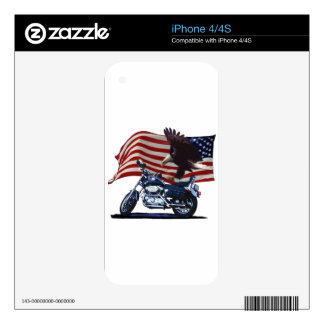 Wild & Free - Patriotic Eagle, Motorbike & US Flag Skin For The iPhone 4