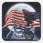 Wild & Free - Patriotic Eagle, Motorbike & US Flag Square Sticker