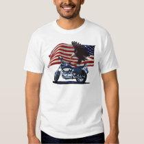 Wild & Free - Patriotic Eagle, Motorbike & US Flag T Shirt