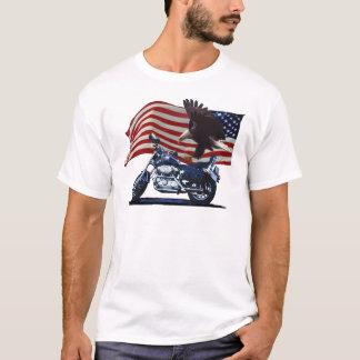 Wild & Free - Patriotic Eagle, Motorbike & US Flag T-Shirt