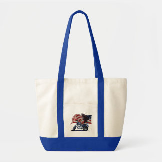 Wild & Free - Patriotic Eagle, Motorbike & US Flag Tote Bag